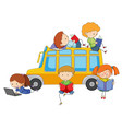 isolated kids learning on white background vector image vector image