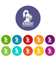 knight helmet icons set color vector image vector image