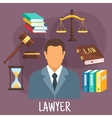 Lawyer profession flat icon with justice symbols vector image vector image