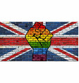 lgbt protest fist on a united kingdom brick wall vector image vector image
