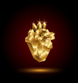 low poly golden human heart vector image