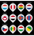 Map marker with flag-set fifth vector image vector image