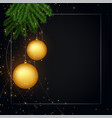 merry christmas dark black background with text vector image vector image