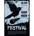 Music poster template for rock concert Raven is vector image vector image