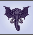 mythical winged elephant vector image vector image