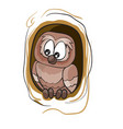 owl sitting in a hollow tree cartoon isolated vector image vector image