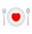 Plate with heart vector image vector image