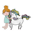 scribbled boy hugging beauty unicorn hairstyle vector image vector image