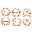 set autumn wreaths with inscription vector image vector image