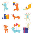 set of festive cute dogs cheerfully celebrating vector image vector image