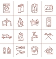 Set of linear cleaning icons vector image