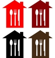 set restaurant sign with house spoon fork and vector image vector image