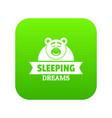 sleeping dream icon green vector image vector image