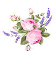 spring flowers bouquet color bud garland label vector image vector image