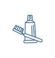 teeth brush toothpaste line icon concept teeth vector image