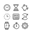 time and clock isolated icon set vector image vector image