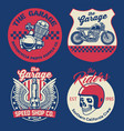 vintage motorcycle badge set vector image vector image