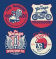vintage motorcycle badge set vector image vector image
