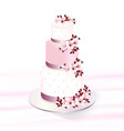 wedding cake decorated with cherry blossoms vector image vector image