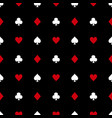 white and red card suits on black background vector image vector image