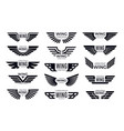 wings badges flying emblem eagle bird wing and vector image vector image