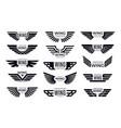 wings badges flying emblem eagle bird wing vector image