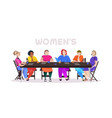 women discussing during meeting at round table vector image vector image