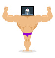 X-ray head bodybuilder large muscles and small vector image