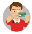 young man showing car keys and driving license vector image vector image