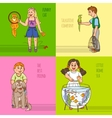 Childs And Pets Decorative Icon Set vector image