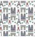 paris landmarks seamless pattern vector image