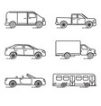 set of thin line transportation icons vector image
