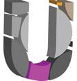 3d font letter u vector image vector image