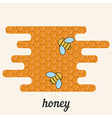 Background with bees on the honeycomb vector image