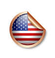 bronze american sticker placed on white background vector image vector image
