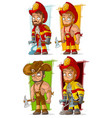 cartoon fireman in uniform character set vector image vector image