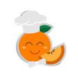 cartoon orange chef with paper shadow vector image
