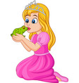 cartoon princess kissing a green frog vector image