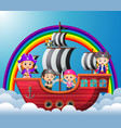 children riding on viking ship in the sky vector image