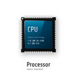 cpu microchip processor on white background vector image vector image