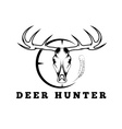 deer skull with target and feather design template vector image vector image