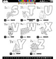 educational cartoon alphabet set from s to z vector image vector image