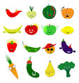 Emoticons food set cute funny stickers vector image