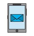 Envelope inside smartphone device design vector image vector image