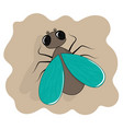 fly icon flat cartoon insect vector image vector image