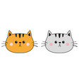 gray orange red cat sad head face silhouette icon vector image vector image