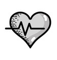grayscale heartbeat vital sign to ekg frequency vector image