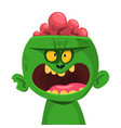 green zombie with pink brains outside vector image vector image