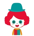 half body funny small clown with hat vector image vector image
