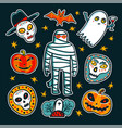halloween design elements cartoon pumpkins mummy vector image